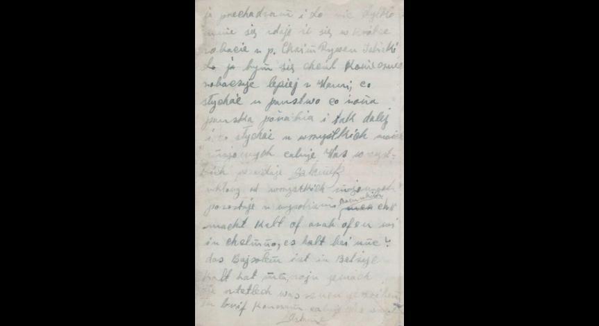 Fragment listu Szlamka do Hersza Wassera. Zbiory ŻIH